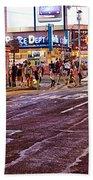City Scene - Crossing The Street - The Lights Of New York Bath Towel