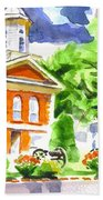 City Square In Watercolor Hand Towel