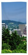 City With Mt. Hood In The Background Bath Towel