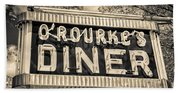 Classic Diner Neon Sign Middletown Connecticut Bath Towel