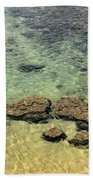 Clear Indian Ocean Water With Rocks At Galle Sri Lanka Bath Towel