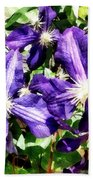Clematis On A Stone Wall Bath Towel