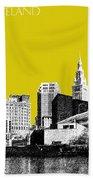 Cleveland Skyline 3 - Mustard Bath Towel