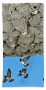 Cliff Swallows Returning To Nests Bath Towel