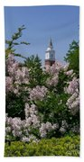 Clock Tower And Lilacs Bath Towel