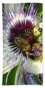 Close Up Of Passion Flower With Honey Bee  Bath Towel