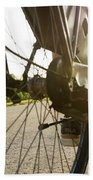 Close Up Of Wheel Of Bicycle On Road Bath Towel