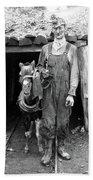 Coal Miner & Mule 1940 Bath Towel