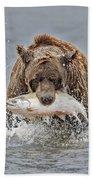 Coastal Brown Bear With Salmon IIi Bath Towel