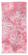 Coastal Decorative Pink Peach Floral Chevron Pattern Art Pink Whimsy By Madart Bath Towel