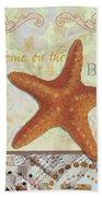 Coastal Decorative Starfish Painting Decorative Art By Megan Duncanson Bath Towel