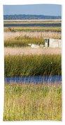 Coastal Marshlands With Old Fishing Boat Bath Towel