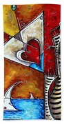 Coastal Martini Cityscape Contemporary Art Original Painting Heart Of A Martini By Madart Bath Towel