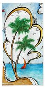 Coastal Tropical Art Contemporary Sailboat Kite Painting Whimsical Design Summer Daze By Madart Bath Towel