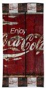 Coca Cola Sign With Little Cokes Border Bath Towel