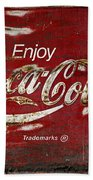 Coca Cola Wood Grunge Sign Bath Towel