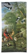 Cock Pheasant Hen Pheasant And Chicks And Other Birds In A Classical Landscape Bath Towel