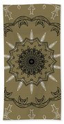 Coffee Flowers 3 Olive Ornate Medallion Bath Towel