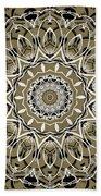 Coffee Flowers 7 Olive Ornate Medallion Bath Towel