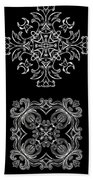 Coffee Flowers Ornate Medallions Bw 6 Peice Collage Bath Towel