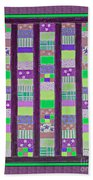 Coin Quilt - Quilt Painting - Purple And Green Patches Bath Towel