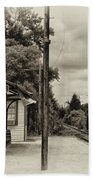 Cold Spring Train Station In Sepia Bath Towel