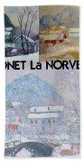 Collage Of Monet's Norwegian Works Bath Towel
