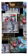 Collage Xmas Cards Horz Photo Art Bath Towel