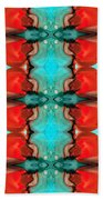 Color Chant - Red And Aqua Pattern Art By Sharon Cummings Bath Towel