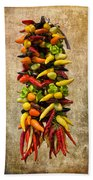 Color Peppers From Spain With Textured Background Dsc01467 Bath Towel