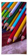 Colored Pencils On Wooden Flag Bath Towel