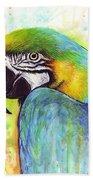 Macaw Watercolor Bath Towel by Olga Shvartsur