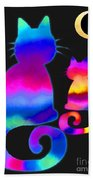 Colorful Cats And The Moon Bath Towel