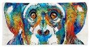 Colorful Chimp Art - Monkey Business - By Sharon Cummings Bath Towel