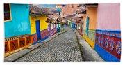 Colorful Cobblestone Street Hand Towel