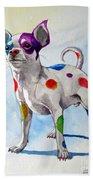 Colorful Dalmatian Chihuahua Bath Towel