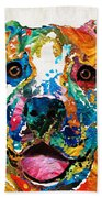 Colorful Dog Pit Bull Art - Happy - By Sharon Cummings Bath Towel