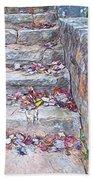 Colorful Fall Leaves Autumn Stone Steps Old Mentone Inn Alabama Bath Towel