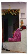 Colorful Family Gathering Ancestral Home Udaipur Rajasthan India Bath Towel