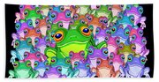 Colorful Froggy Family Bath Towel
