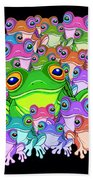 Colorful Froggy Family Bath Towel