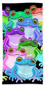 Colorful Frogs Bath Towel