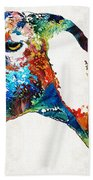 Colorful Goat Art By Sharon Cummings Bath Towel