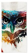 Colorful Owl Art - Wise Guy - By Sharon Cummings Bath Towel