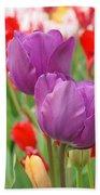 Colorful Spring Tulips Garden Art Prints Bath Towel