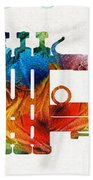 Colorful Trumpet Art Color Fusion By Sharon Cummings Hand Towel