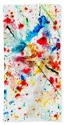 Colorful Watercolor Splash On White Paper Bath Towel