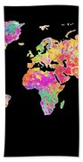 Colorful Watercolor World Map Bath Towel