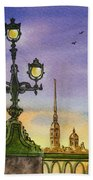 Colors Of Russia Bridge Light In Saint Petersburg Bath Towel