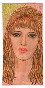 Coloured Pencil Self Portrait Bath Towel